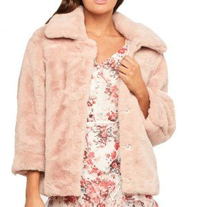 NEW Bardot Pia Faux Fur Jacket soft blush pink